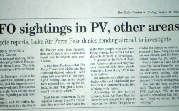 Un martor din Oregon vede un OZN care aminteste de Luminile Phoenix din 1997